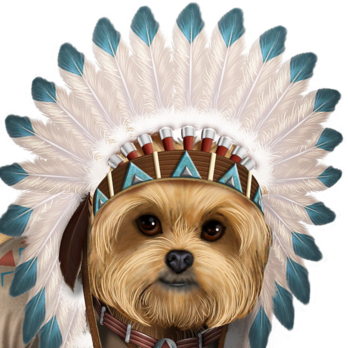 Native American Inspired Chief Little Paws Yorkie Figurine by The Hamilton Collection