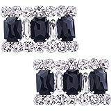 Santfe Rhinestone Crystal Flower Shoe Buckle Shoe Clips for Bridal Wedding Party Shoe Decoration