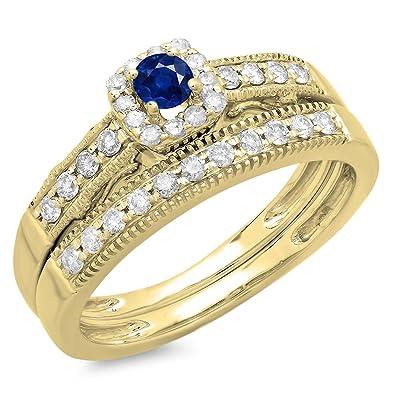 29bb67fba68 DazzlingRock Collection Femme Ronde en Or 10K Saphir Bleu et Blanc Diamant  Halo fiançailles Bague de