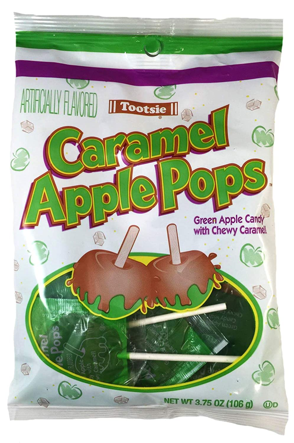 Tootsie (1) Bag Caramel Apple Pops - Green Apple Hard Candy with Chewy Caramel - Individually Wrapped Halloween/Fall Candy - Net Wt. 3.75 oz
