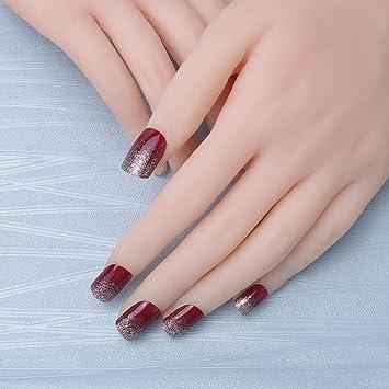 24 pcs vino sólido de 2 colores elegante misterio Glitter Rojo Negro Cuadrado corto Full Cover Acrílico Falsas Uñas artes: Amazon.es: Belleza