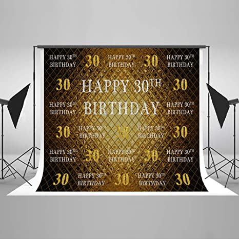 KateHome PHOTOSTUDIOS 2.2x1.5m 30 cumpleaños Foto de Fondo Photo Studio Booth Fondo Microfibra Fiesta de cumpleaños Feliz Banner Telones de Fondo para ...