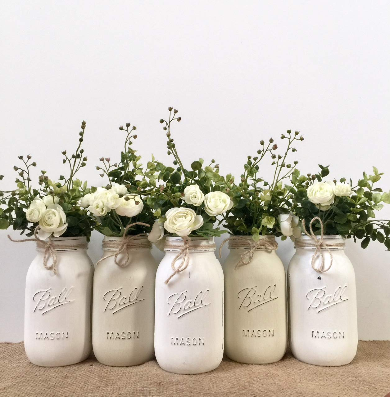 Amazon Com Set Of 5 Rustic Hand Painted And Distressed Baptism Centerpieces Mason Jars Your Choice Of Jar Colors Silk Flowers And Cross Toppers Optional Pint Or Quart Size Handmade