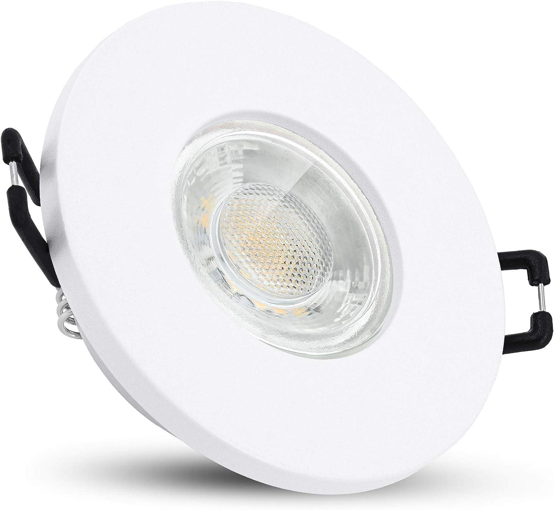 linovum ISAWO Bad Einbauleuchte LED matt wei/ß IP65 Wasserschutz Badeinbaustrahler rund mit LED GU10 3W warmwei/ß 230 Volt