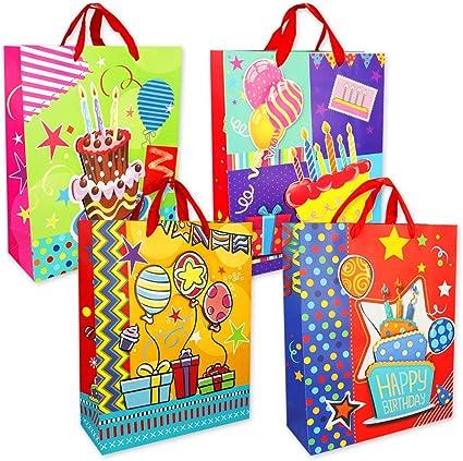 PM6719 - Bolsas de regalo cumpleaños, diseño fiesta, 6 unidades, tamaño (Mediana 32x26x10 cm): Amazon.es: Oficina y papelería