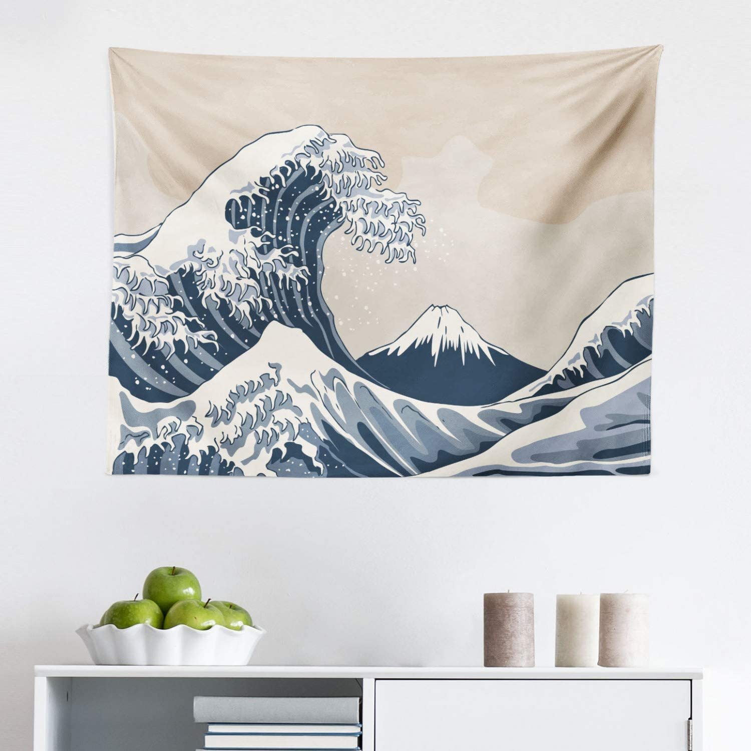 """Lunarable Wave Tapestry, Oriental Culture Hand Drawn Style Japanese Motifs Illustration Wave, Fabric Wall Hanging Decor for Bedroom Living Room Dorm, 28"""" X 23"""", Blue Grey"""