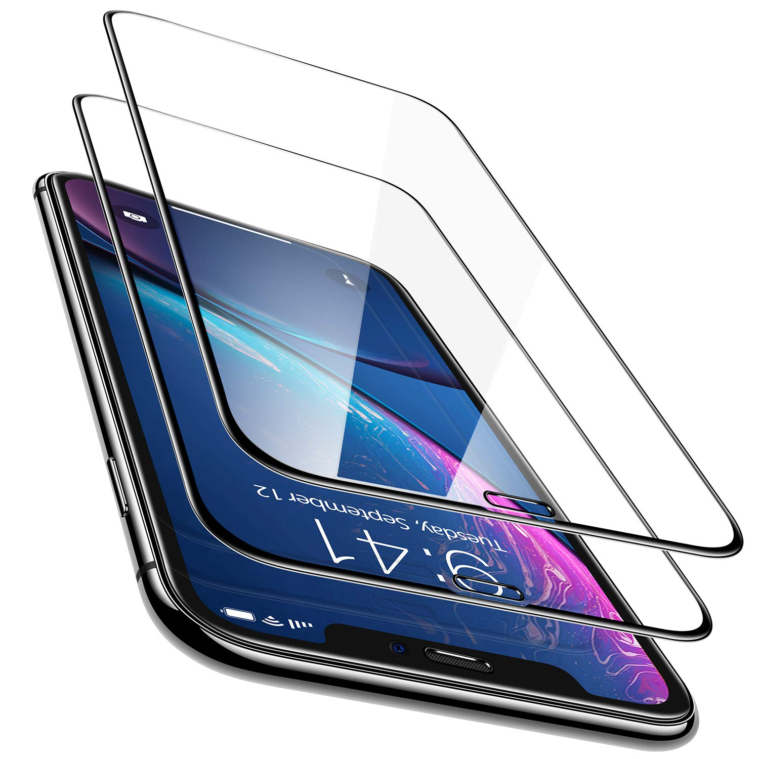 TORRAS [2-Pack] Screen Protector for iPhone XR 6.1 Inch, Easy Installation with Frame [Fit All Cases] Edge-to-Edge 0.25mm Tempered Glass Touch Accurate Screen Protector for iPhone XR (2018)
