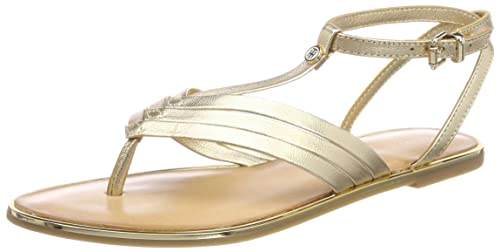 Metallic Flat T-Bar Sandal, Sandalias con Tira Vertical para Mujer, Azul (English Manor 415), 40 EU Tommy Hilfiger