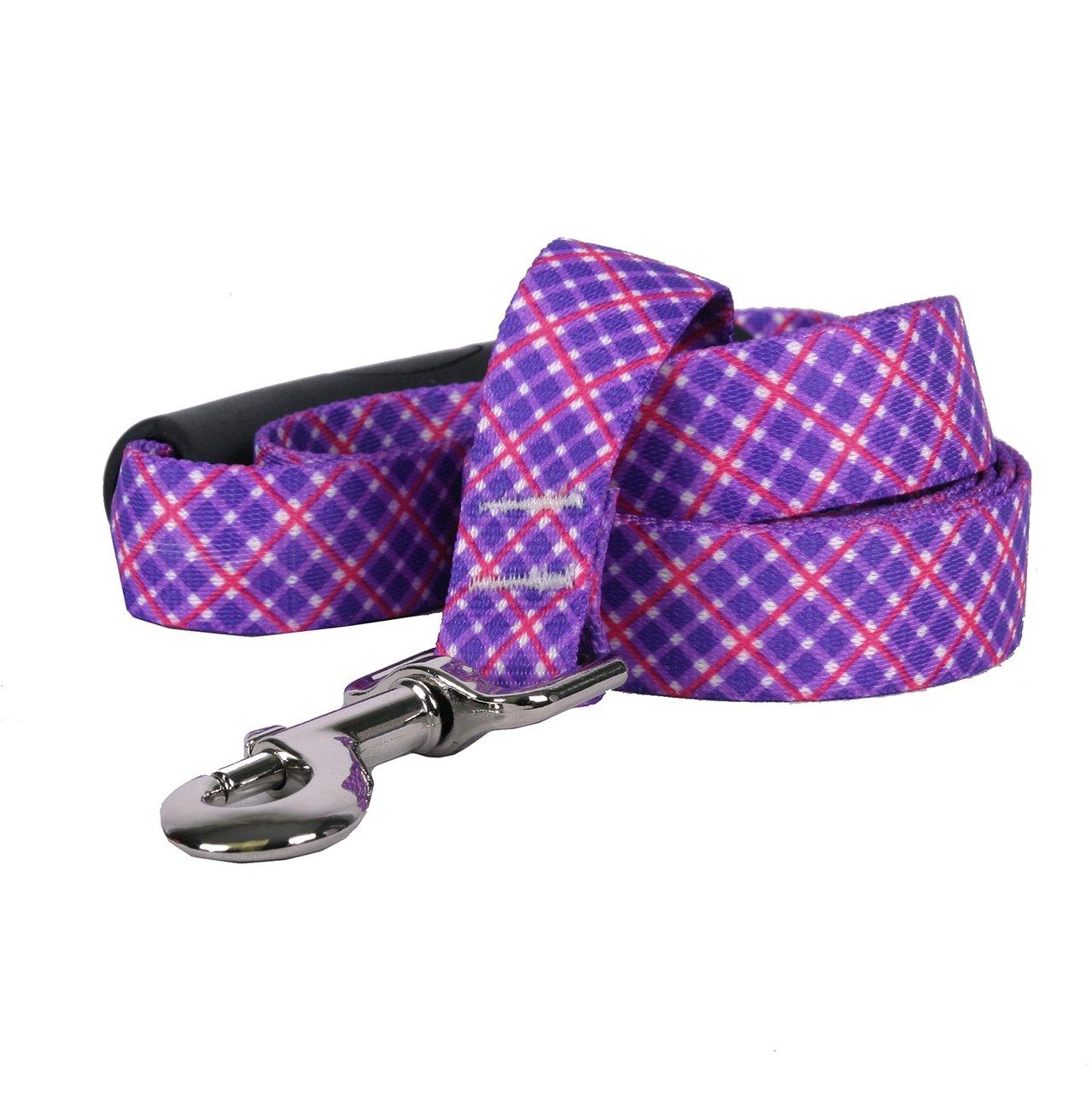 Yellow Dog Design Purple Pink Diagonal Plaid EZ-Grip Dog Leash, Large-1'' Wide 5' (60'') Long