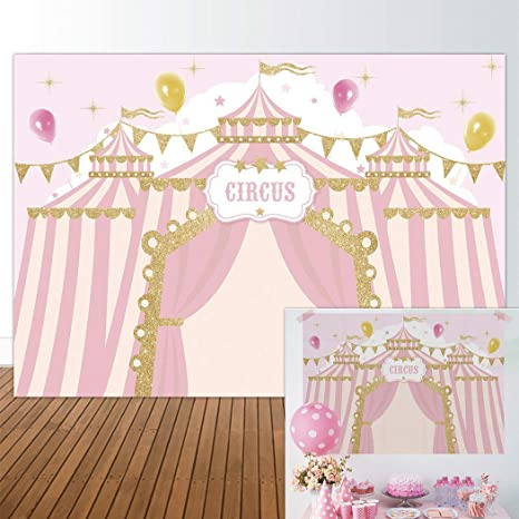Allenjoy 7x5ft Pink Circus Backdrop Carnival Carousel Big Top Tent First 1st Background Girl Birthday Party