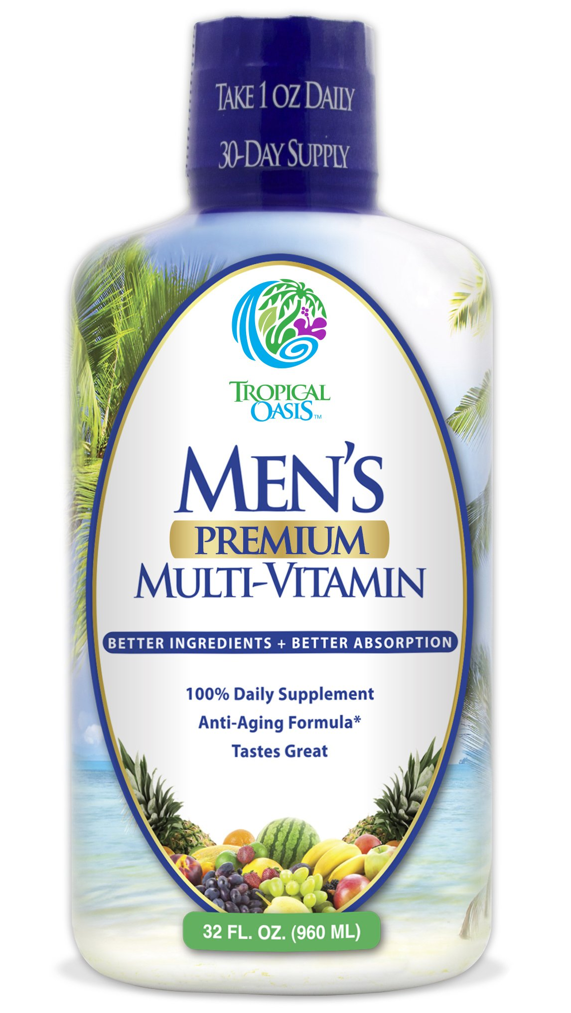 Men's Premium Liquid Multivitamin w/ CoQ10, PABA + 100 additional Vitamins, Minerals, & Amino Acids to support muscle, heart & brain functions* Max Absorption! - 32 Serv.