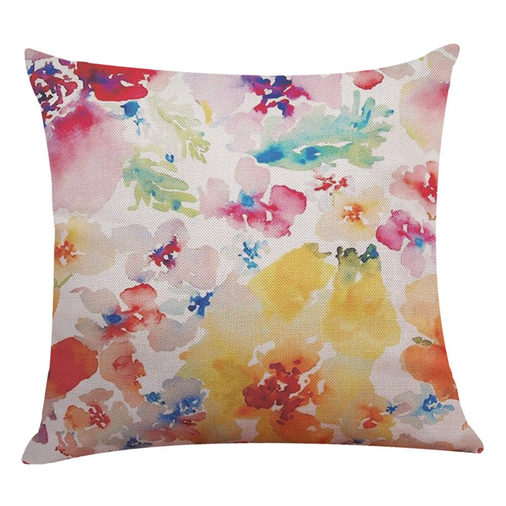 Weiliru Spring Decorations Decorative Pillow Covers 18 x 18 Hello Spring Flower Cotton Linen Pillow Cases for Spring Home Décor