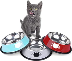 Legendog 3Pcs Cat Bowls, Cute Cat Food Bowls, Stainless Steel Cat Bowl, Cat Bowls for Food and Water, Cat Food Dish with Food Scoops (Grey+Blue+Red)