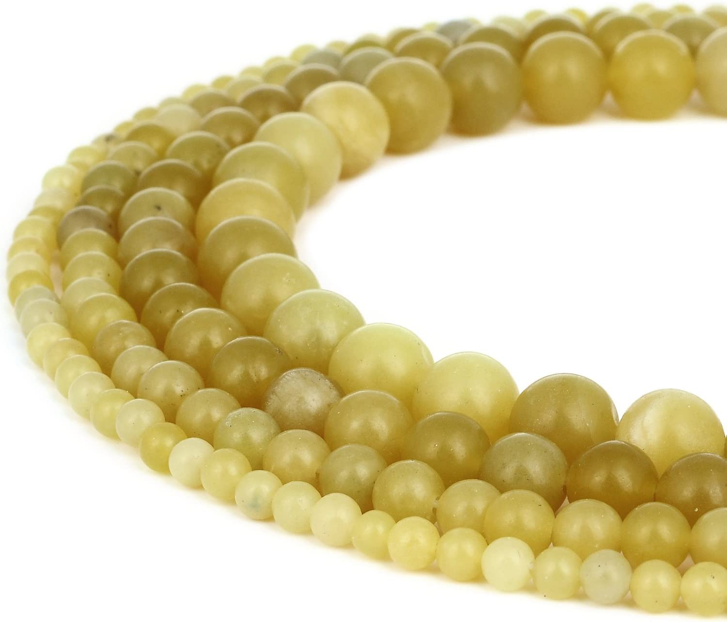 """Lemon Butter Jade Stone Round Beads For Jewelry Making 15/"""" 4mm 6mm 8mm 10mm"""