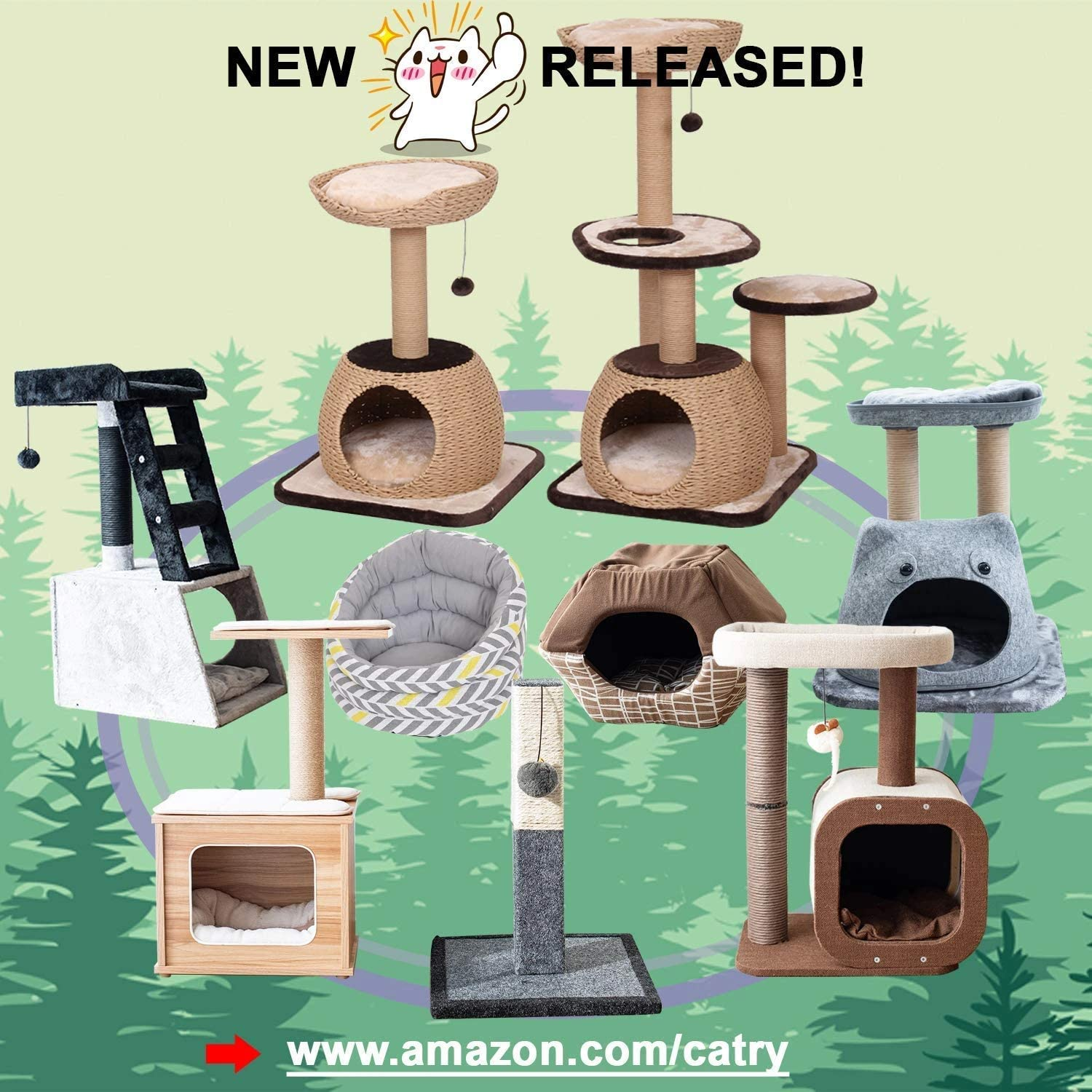 PetPals Cat Tree Cat Tower for Cat Activity with Scratching Postsand Toy Ball,Gray (Perch): Home & Kitchen