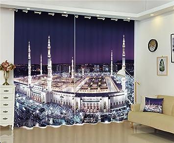 Chlwx 3D Tapete Nacht Stadt Luxus Fenster 3D Gardinen Set Für Bett  Wohnzimmer Büro Hotel
