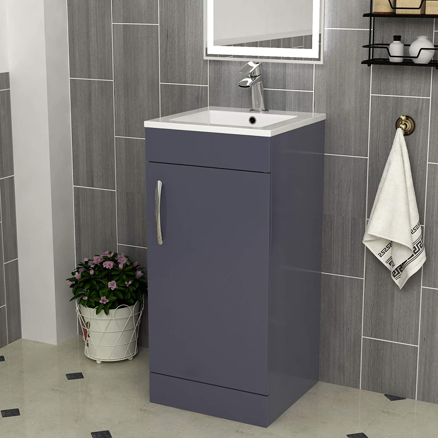 Vault Vanity Unit With Basin Compact Wall Hung Floor Standing 400mm Wide