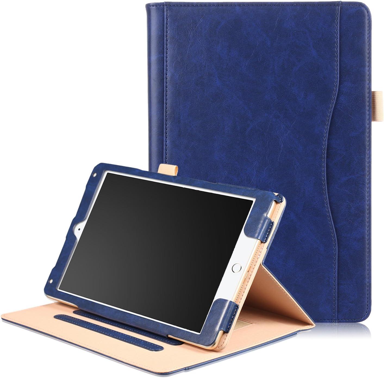 iPad Pro 10.5 2017ケース SAVYOU ハンドストラップ マルチ機能 プレミアムレザースタンドカバー 自動ウェイク スリープ スマートフォリオ フリップカードホルダー ipad Pro 10.5インチ 2017リリース用 IPRP10.5-NK-BL