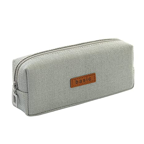 I Superb Cotton Linen Pencil Case Student Stationery Pouch Bag School Office Storage Organizer Coin Pouch Cosmetic Bag (Grey) by I Superb