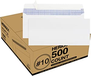 #10 Security Self-Seal Envelopes, No.10 Windowless Bussiness Envelopes, Security Tinted with Printer Friendly Design - EnveGuard - Size 4-1/8 x 9-1/2 Inch - White - 24 LB - 500 Count