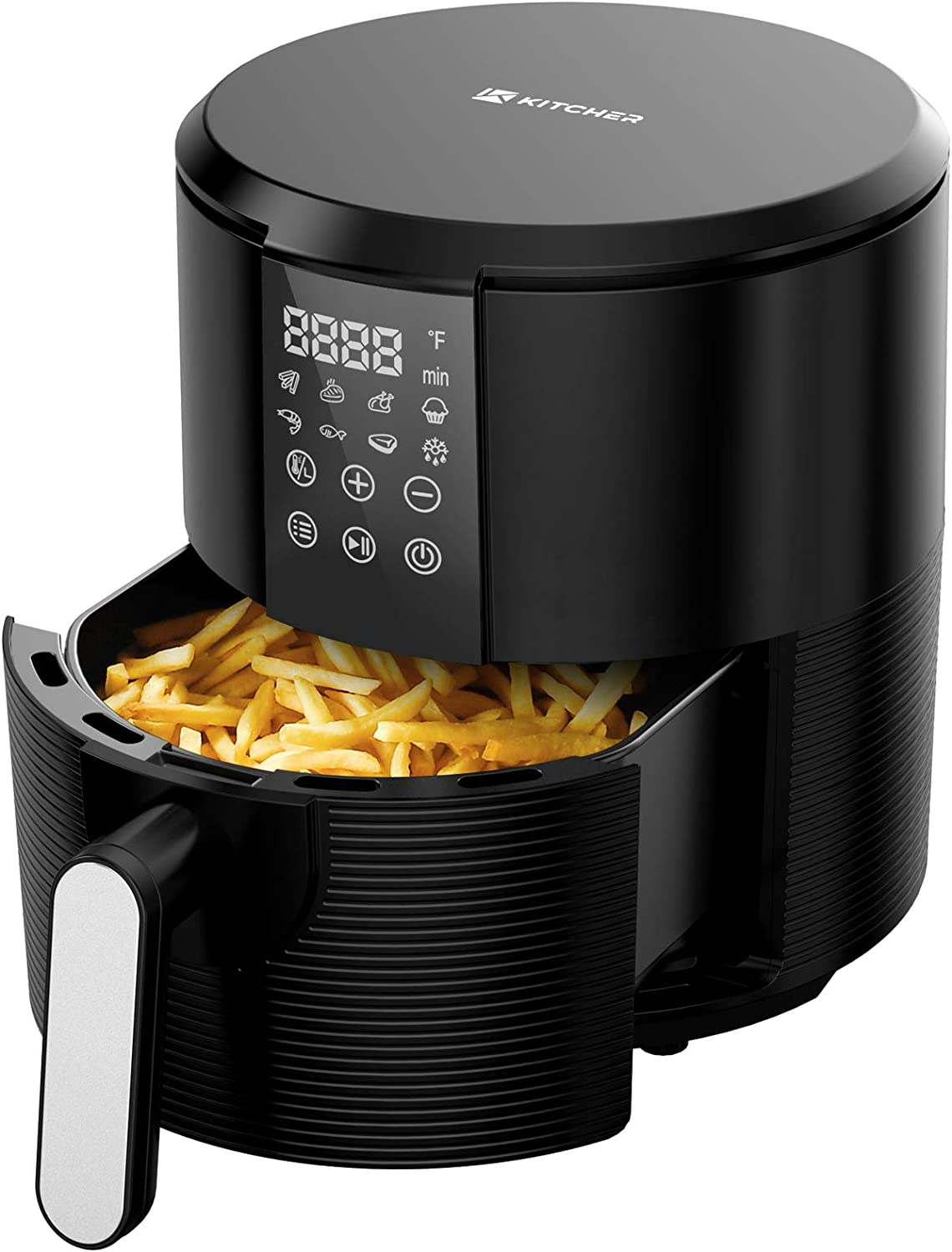 Kitcher 3.5Qt Air Fryer LED Touch Digital Screen Hot Air Fryers Oven Oilless Cooker with Temperature Control 60 Minutes Timer Non-stick Fry Basket 50 Recipes Auto Shut Off Feature