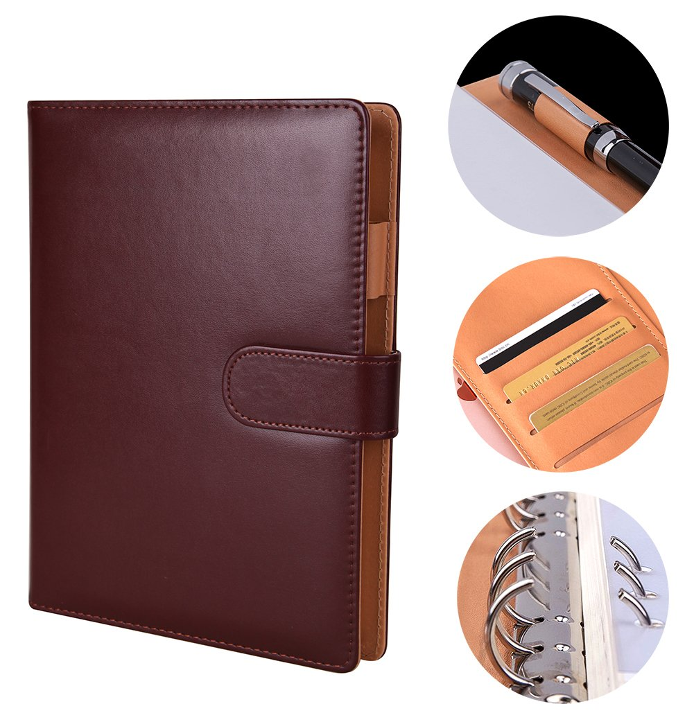 Writing Notebook, Premium Business PU Leather Journal Hardcover Executive NotebooksA5 Diary Fefillable with Card Holde , Pen Holder, Magnetic Buckle, Wine Red [160 Lined Pages]