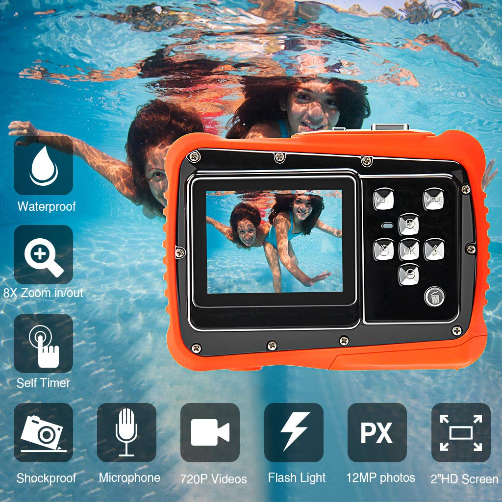 Veeca Waterproof Kids Digital Camera 12MP HD Photo Resolution Underwater Camcorder with 8X Digital Zoom Flash Mic and 8G SD Card 3 Non-Rechargeable Batteries Included by Veeca (Image #6)