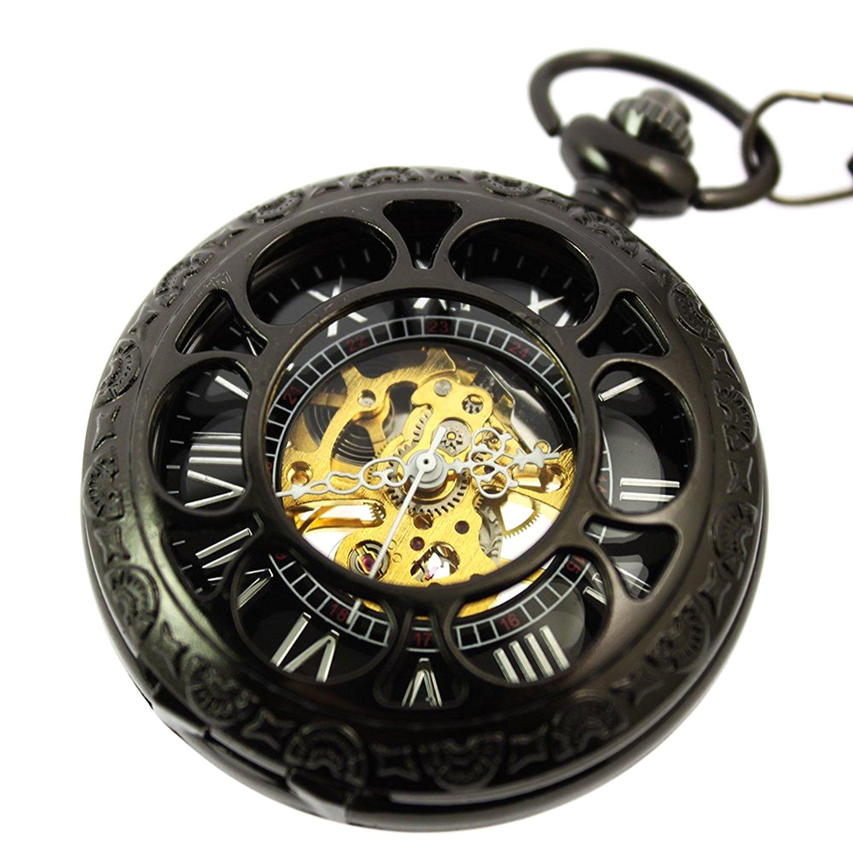zijaeスチームパンクブラックスケルトンアンティーククラシックMechanicalペンダントポケット時計+ギフトボックス B01NATG7FR
