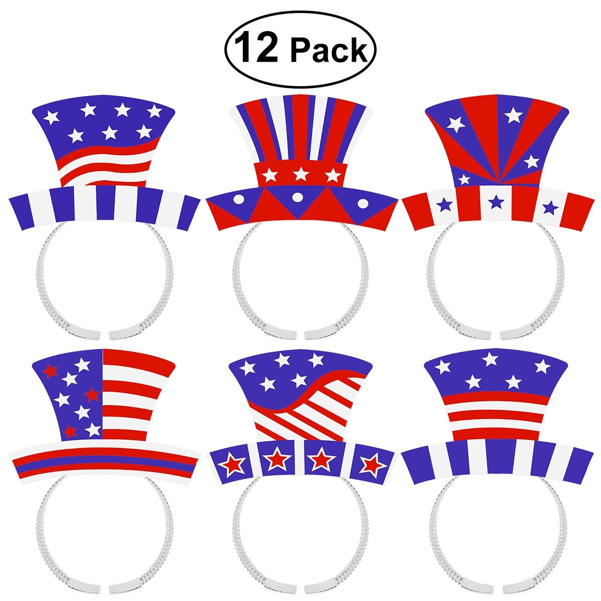 4 de julio Diadema LUOEM Cuarto de julio Fuentes del partido Patriótico Estrella Boppers Bandera americana diademas Día de la Independencia Accesorios del ...