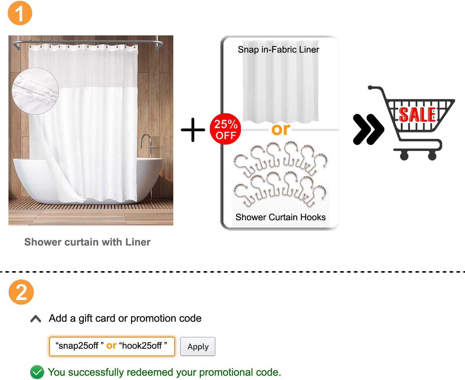 Hotel Style Cotton Shower Curtain with Snap-in Fabric Liner, Mesh Window Top, Honeycomb Waffle Weave Cotton Blend Fabric, Washable, White, 71x72 Inches: Home & Kitchen