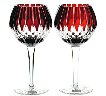 Amazon Com Ajka Castille Wine Balloon Goblets Ruby Red Cut To