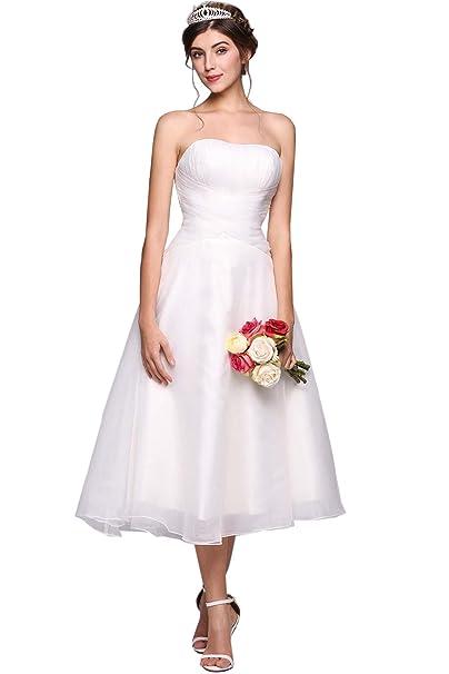 Amazon.com: Yealsha vestido de boda de encaje corto simple ...