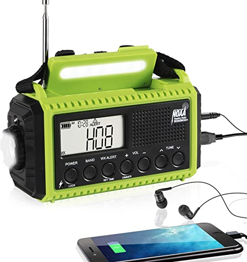 Emergency Radio Hand Crank Solar Weather Radio, 5000mAh AM/FM/Shortwave/NOAA Weather Alert Radio Portable for Home and Survival with LCD Display, USB Charger, Dimmable Flashlight, Reading Lamp & SOS