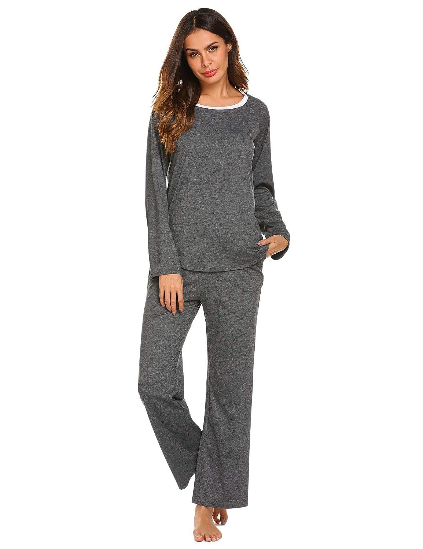 ef0fa9b02 Ekouaer Pajamas Women s Long Sleeve Sleepwear Soft Pj Set Top with Pants Pajama  Set S-XXL at Amazon Women s Clothing store