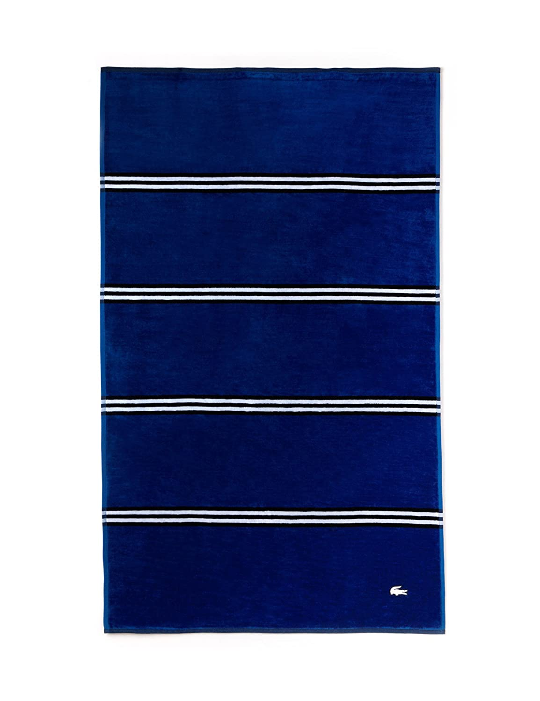 Lacoste Toalla de playa, diseño de rayas, color azul marino: Amazon.es: Hogar