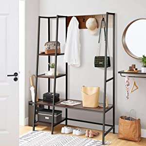 BackH Coat Rack with Hooks and Shelves, Entryway Hall Tree 4 Tier Shelves, Shoes Bench, Rustic Style, Industrial Storage Shelves, Wood Accent Furniture, Walnut (Walnut)