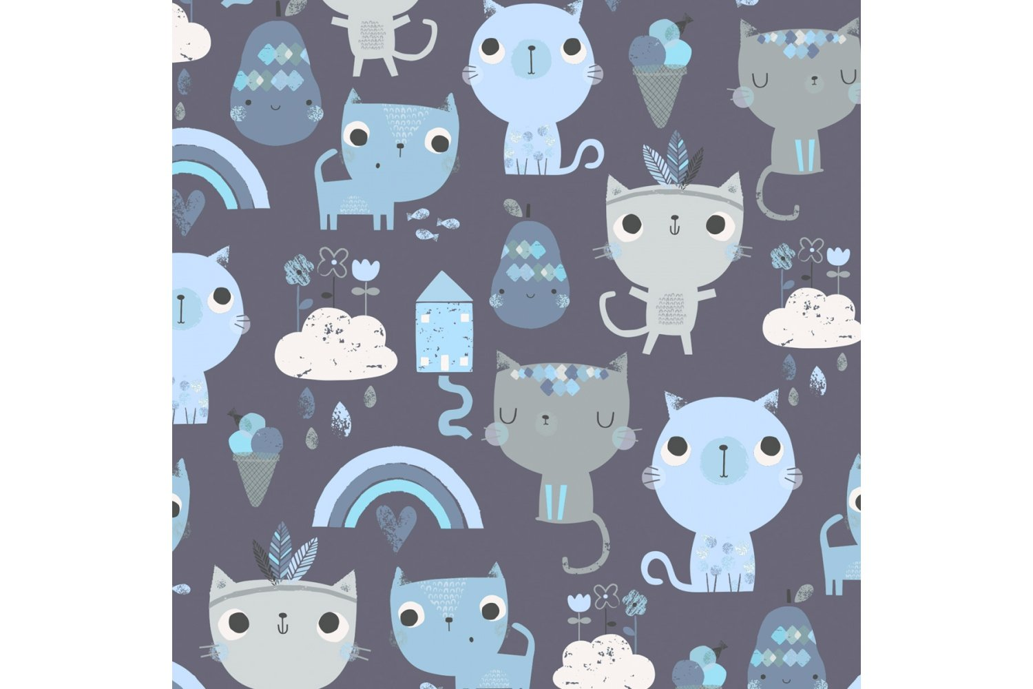 Blue kittens MayLily fitted sheet for moses basket and pram made in EU highest quality