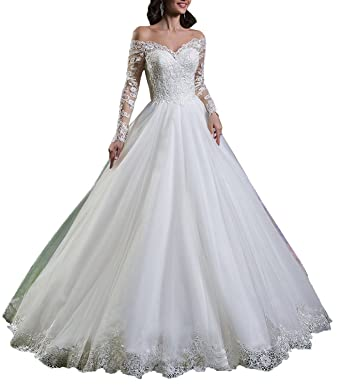 8a6a8eb729 Babygirls Wedding Dress Princess with Lace Off Shoulder Long Sleeve Tulle  for Bride Bridal Gowns at Amazon Women's Clothing store: