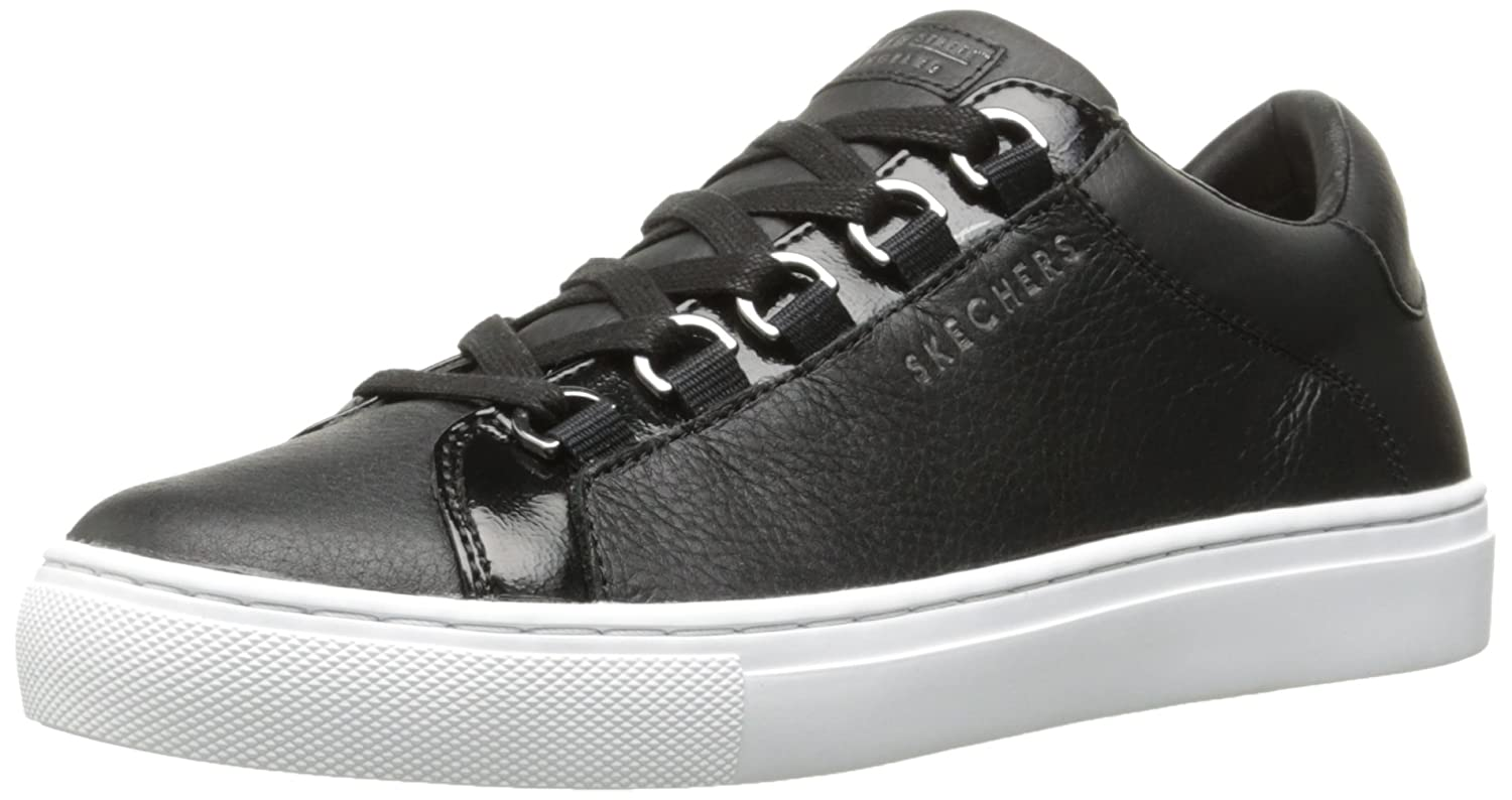 Skechers Damen Side Street Ausbilder, Black Leather/Patent, M  35 EU|Schwarz (Black)