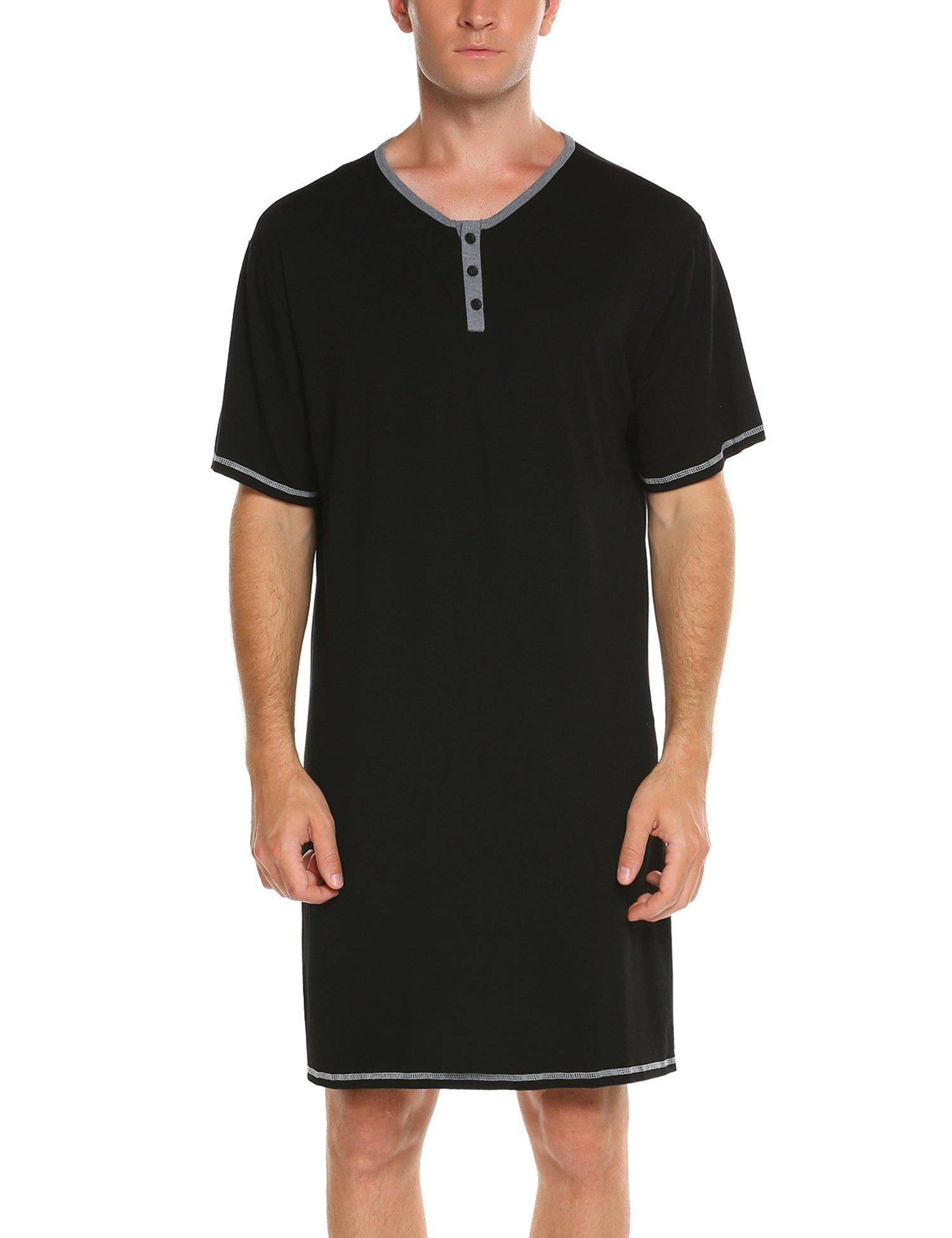 231bdf215a7 Ekouaer Men s Comfort Sleepwear Top Nightshirt Sleep Shirt(Black M)