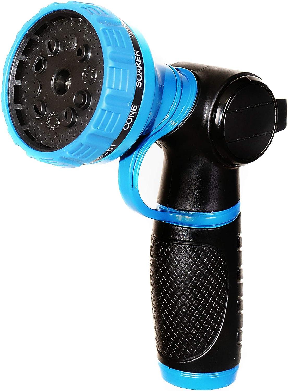 Riemex Hose Nozzle Heavy Duty Metal Sprayer Brass 10 Pattern Water Garden Spray High Pressure Anti-Leak Anti-Rust No-Squeeze for Car wash Pet Shower Spraying Plants (Dark Blue)