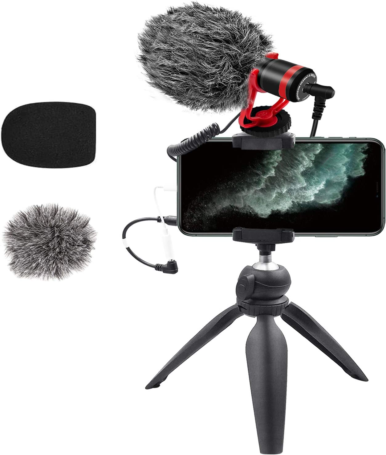 Microphone for iPhone Smartphone Camera Video Microphone Kit with Mini Tripod 3.5mm Jack External Mic for Canon Nikon DSLR Interview Android Samsung Vloging YouTube Asmr