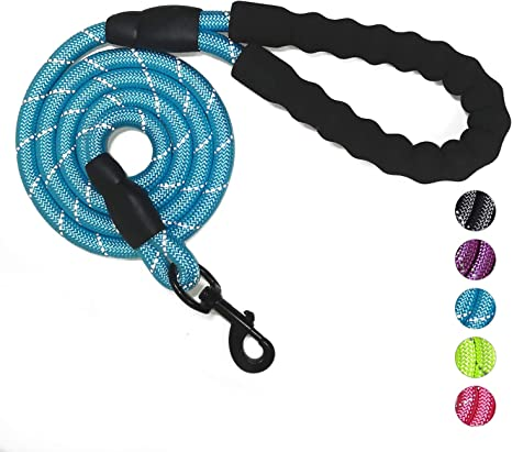 YUDOTE Strong Nylon Dog Lead,Reflective Dog Leash with Soft Comfy Padded Loop Handle,Handy D Ring and Buckle for Daily Walking with Medium Dogs,Black