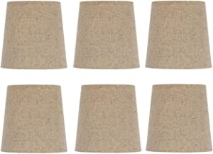 Upgradelights Burlap Chandelier Lamp Shade, Set of Six Shades, 5 Inch Retro Drum, Clips onto Bulb. 4x5x4.5