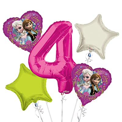 Frozen Balloon Bouquet 4th Birthday 5 pcs - Party Supplies: Health & Personal Care