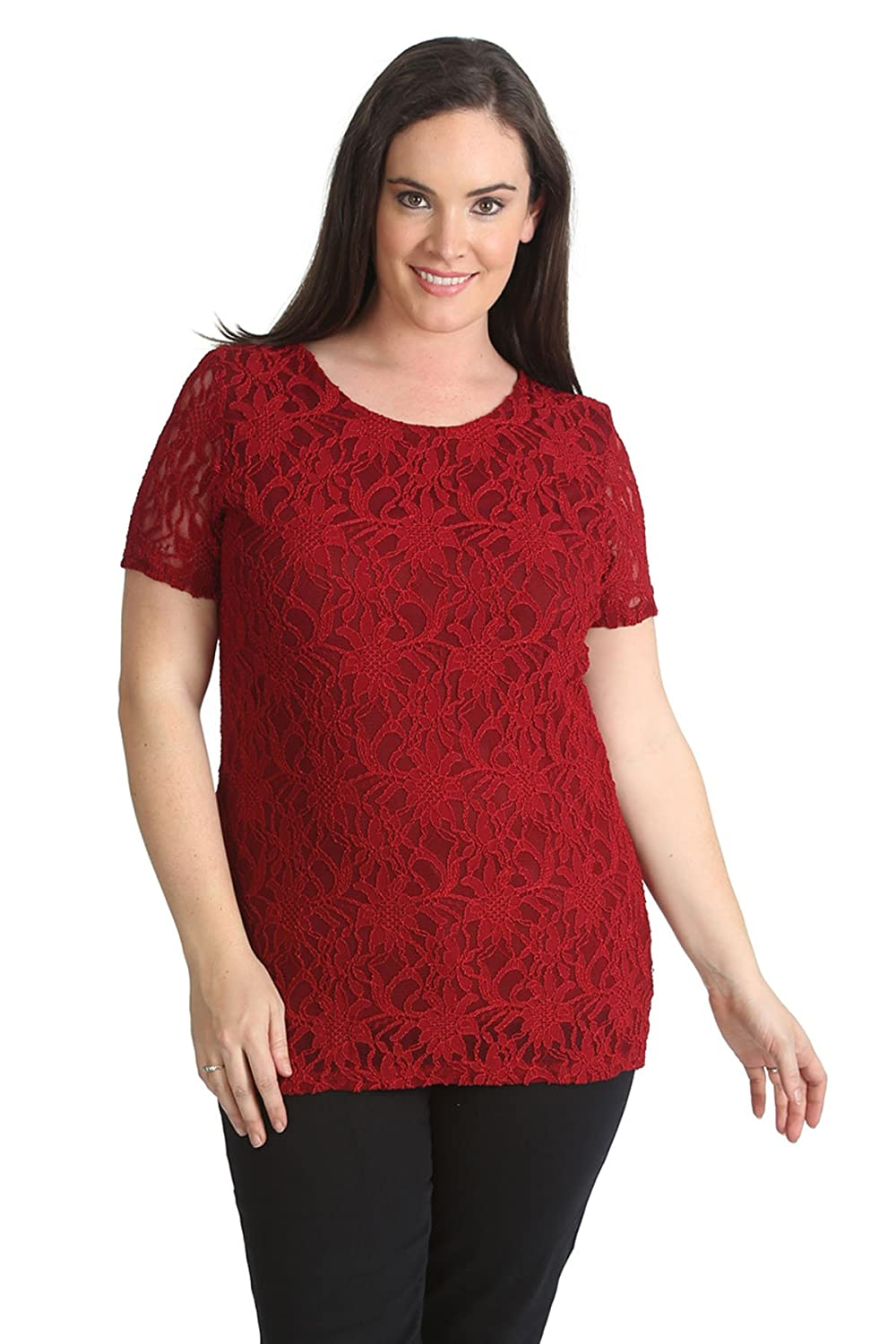 Nouvelle Collection New Womens Top Ladies Plus Size Lace Lined Floral Short Sleeves Party