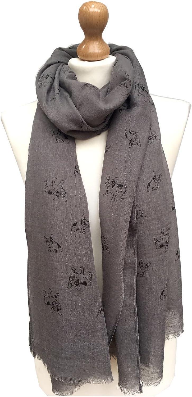 Bulldog Scarf dog print scarves with dogs on printed ladies fashion womens shawl
