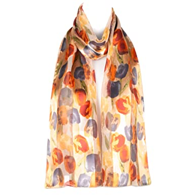 569042387a65 Filles Femmes écharpe en mousseline de satin foulard motif florale tulipe  châle enveloppant (orange