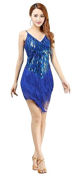 1f493aba BELLYQUEEN - Traje Latino Mujer para Danza Clásica Salsa Tango con  Lentejuelas y Flecos - Talla Única - Azul: Amazon.es: Deportes y aire libre
