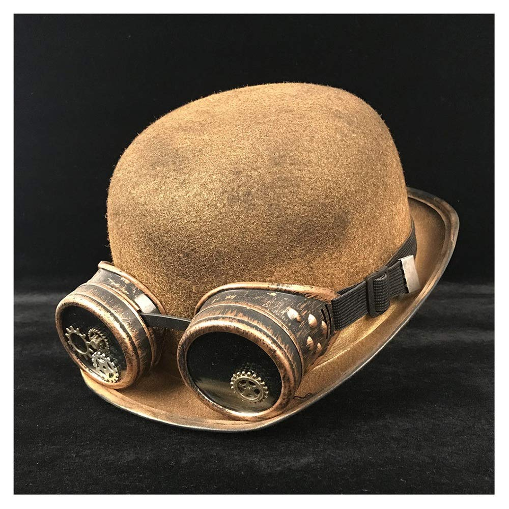 LL Fashion Women Men Unisex Steampunk Bowler Hat Glasses Topper Top Hats Cat Ear Luxury Fedora Hat (Color : Gold BLG, Size : 57-58CM)